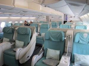 The business class cabin aboard Korean Air's A380.