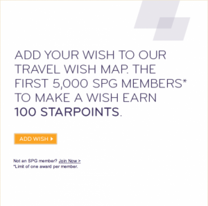 100 SPG Points for Creating a SPG Travel Wish