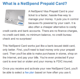 leverage netspend for large purchases netspend is another prepaid product that has more fees than most other products but allows you to load more money - Netspend Visa Prepaid Card