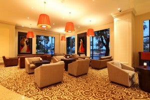 Lobby lounge at the Renaissance Riverside Hotel Saigon.