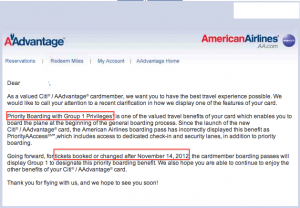 American sent this email to cardholders to tell them they'd no longer get Priority AAccess.