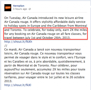 The 2x miles promo was announced on the Aeroplan Facebook page.