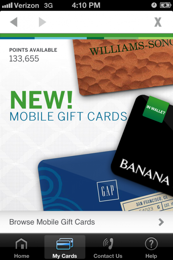 Amex Browse Mobile Gift Cards
