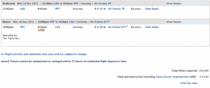Roundtrip business class to Tahiti for 150,000 SkyMiles and $52