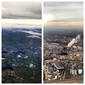 Green pastures on takeoff in Dublin to.... an industrial EWR arrival