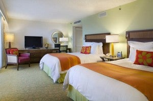 Double guest room at the Waikiki Beach Marriott Resort & Spa.
