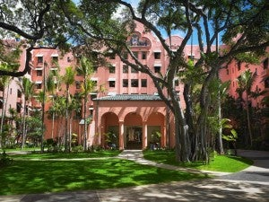 Exterior of the iconic Royal Hawaiian property.