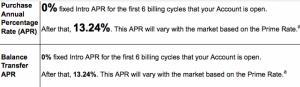 The current Ink Plus offer includes 0% APR on purchases and balance transfers for the first 6 billing cycles.
