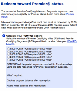 If you have the MileagePlus credit card, you can redeem bonus miles for elite miles.