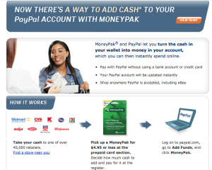 You can fund your PayPal account with a MoneyPak.