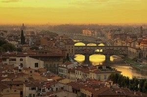 A view of the city and the Ponte Vecchio from the Piazzale Michelangelo.