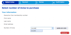 You can purchase up to 24,000 Avios per account per year at prices ranging from 2.85-5.1 cents each.