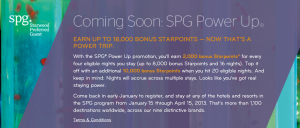 SPG Announces details of their new promotion beginning in 2013.