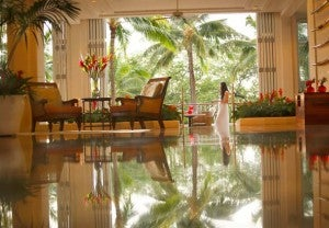 The JW Marriott Ihilani Ko Olina Resort & Spa features an open-air lobby