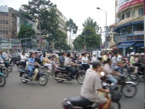Motorbike taxis are common.