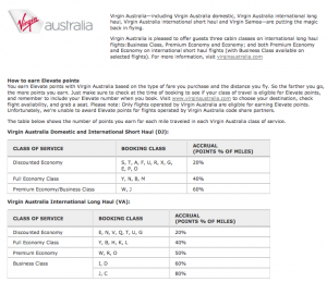 The earning rules on Virgin Australia.
