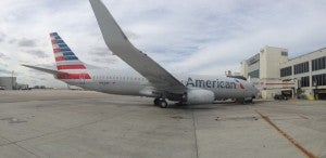 A panorama shot of the new livery on the 737-800.