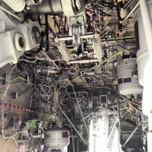 In the belly of the beast - some of the 737-800's mechanical insides.