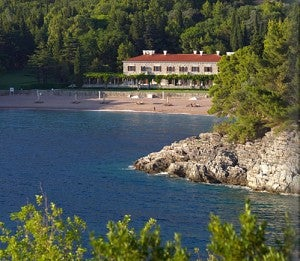 The Aman Sveti Stefan located on Montenegro's Adriatic coastline.