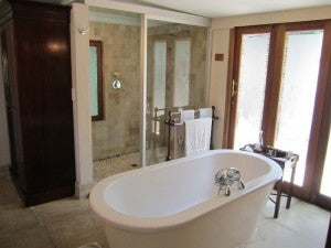 The bathrooms had freestanding tubs and separate showers.