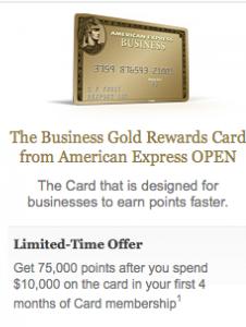 Reminder Amex Business Gold Rewards 75 000 Sign Up Bonus