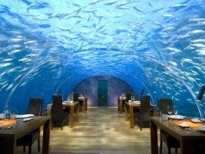 Ithaa Underwater restaurant at the Conrad Maldives.