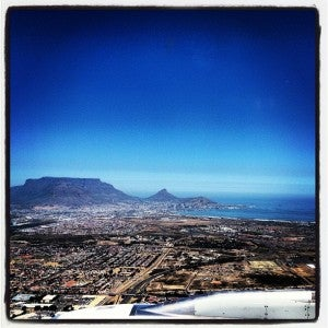 Flying into Cape Town aboard SAA.