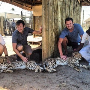 Eric and I get up close and personal with come cheetahs.