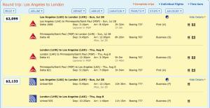 Los Angles to London