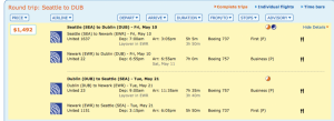 Seattle to Dublin through Dulles for $1,491!