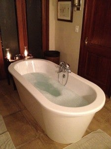 A candlelit bubble bath was the perfect sight to walk into after the evening game drive.