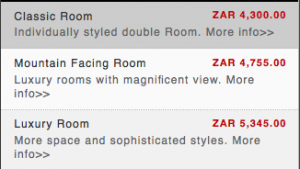 The rates for the rooms if I'd booked directly with the hotel.
