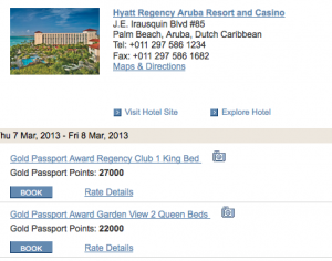 Rooms go for just 22,000 points at the Hyatt Regency Aruba.