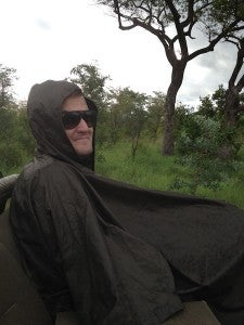 Sporting one of the stylish ponchos in a fruitless effort to stay dry!