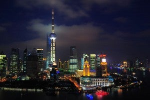 The skyline of Pudong, a district of Shanghai.