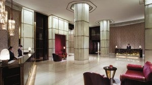Lobby area at the Ritz Shanghai Pudong.