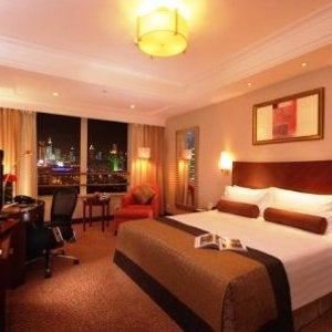 Superior king guest room at the Radisson Blu Hotel Shanghai New World.