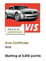 Avis through Amex Membership Rewards