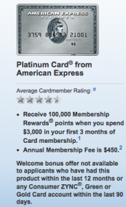 100K Sign-up bonus for Amex Platinum card.