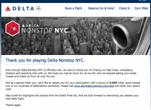 Even if you didn't win, you could still receive 5,000 SkyMiles just for playing.