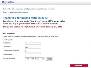 Buy 1,000 miles and receive 1,000 bonus miles.
