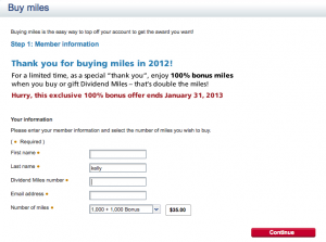 Buy 1,000 miles and receive 1,000 bonus miles.