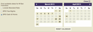 Using the flexible date calendar, I was able to see what dates in March, the W San Francisco had cash and points availability for.