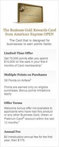 Amex Business Gold Rewards 75K