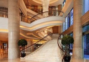 Lobby area at the Shanghai Marriott Hotel City Center.