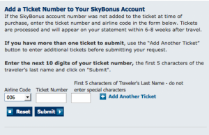 Skybonus add ticket
