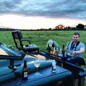 One of our fellow passengers, Steve, enjoying sundowners the first evening.