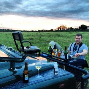 One of our fellow passengers, Steve, enjoying sundowners the first evening.