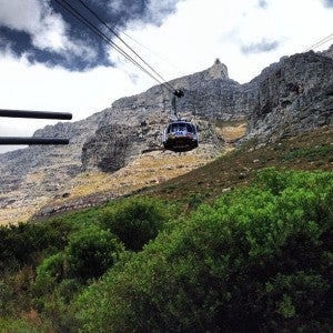 Taking the cable car up Table Mountain.