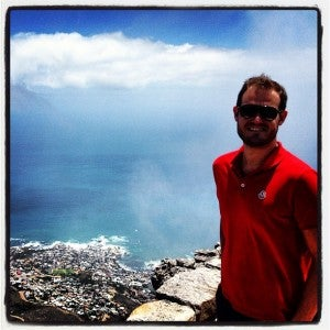 Enjoying the scenery from the top of Table Mountain.